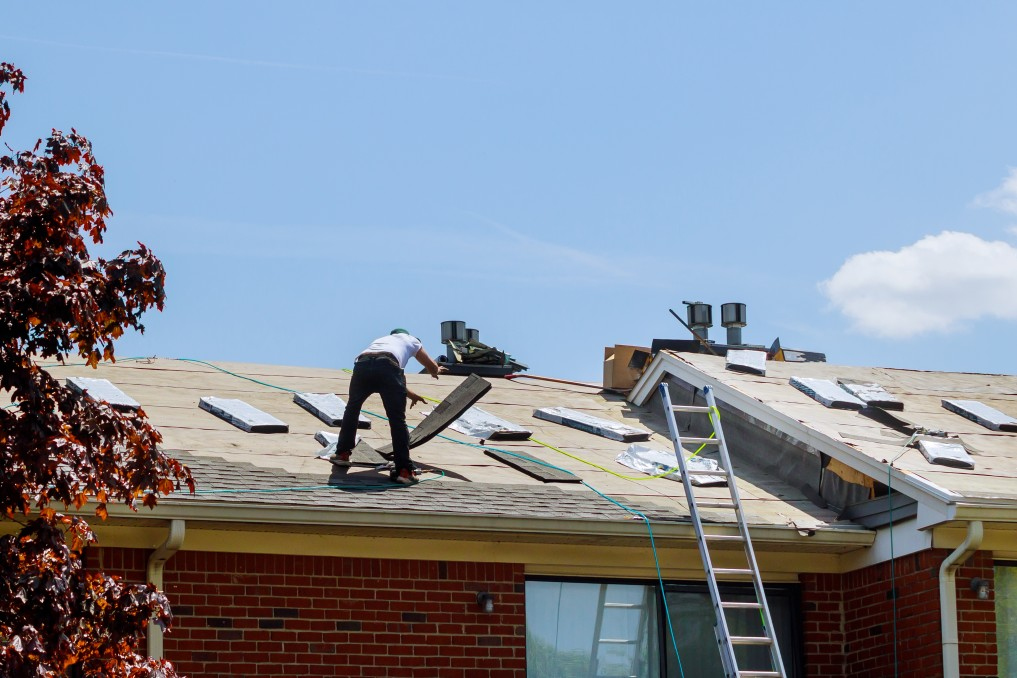 Photo of roofing team, replacing roof. Roof Replacement - Brajar Roofing Company - Hickory, North Carolina